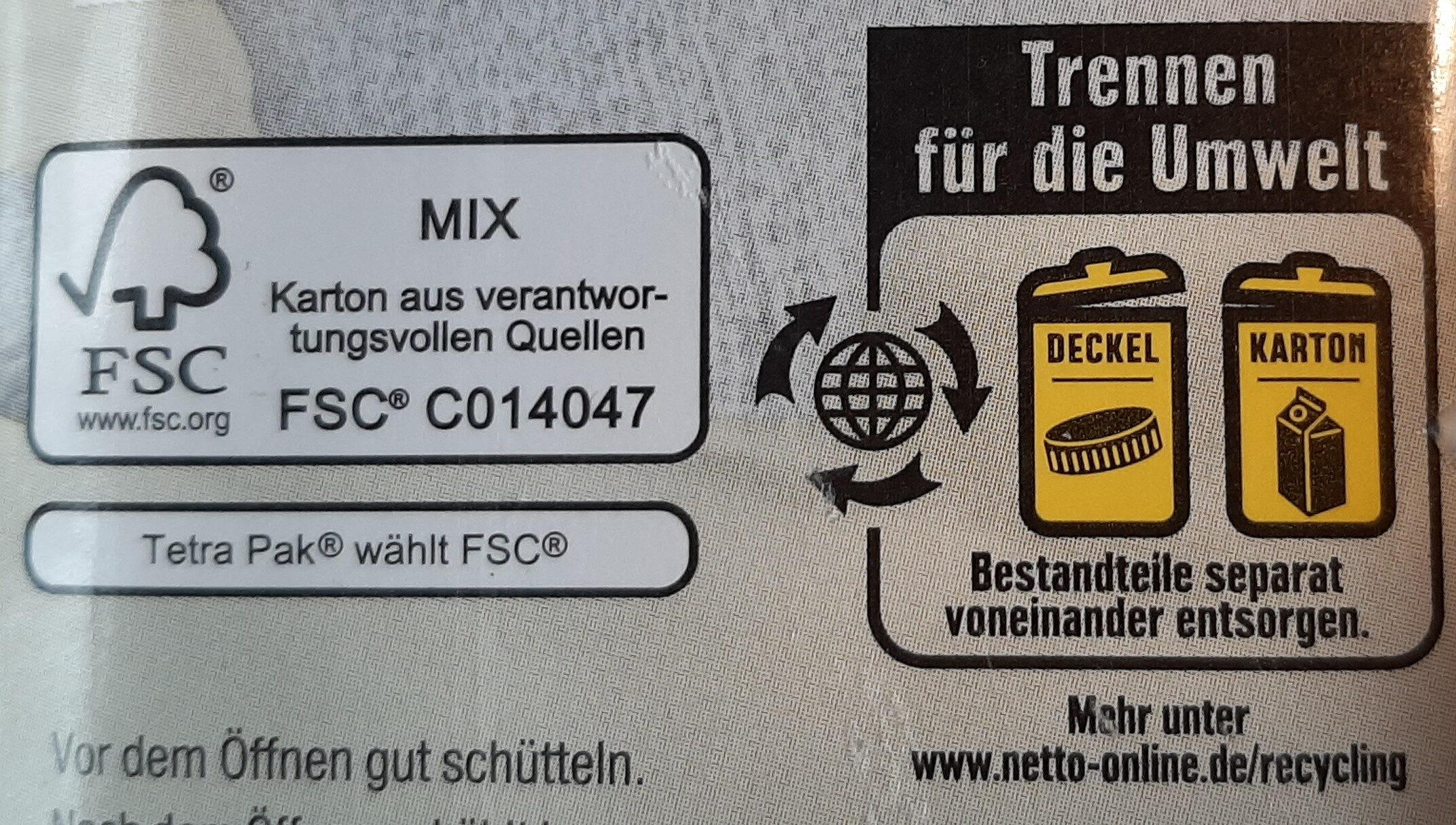 Mandel drink gesüßt - Instruction de recyclage et/ou informations d'emballage - de