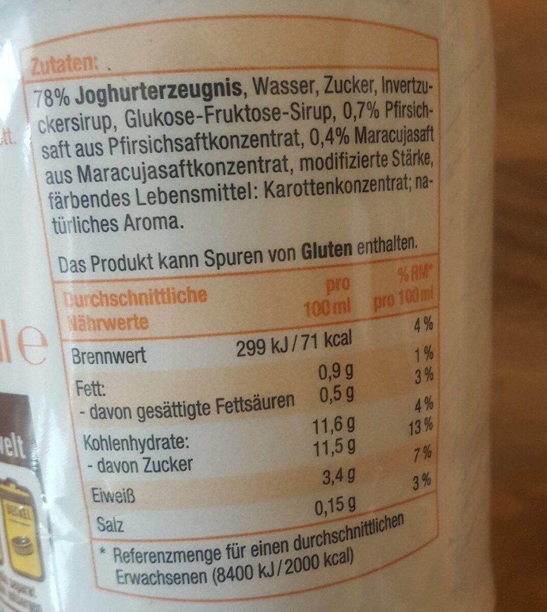Pfirsich Joghurt Drink - Nährwertangaben - de