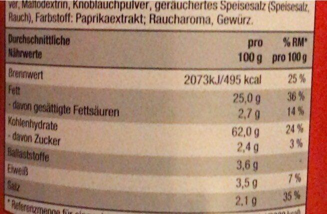 Kartoffelringe - Nährwertangaben - en