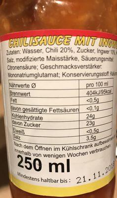 Chilisauce mit Ingwer - Ingrédients - de