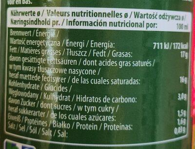 Organic coconut Milk - Nährwertangaben - de