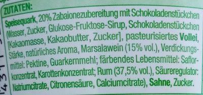 Zabaione Quark mit Schokoraspeln - Ingredients