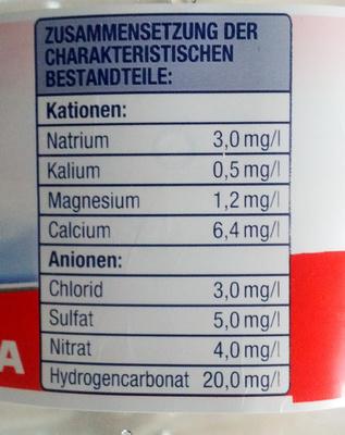 Quell Wasser still - Nutrition facts