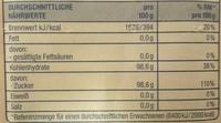 Vanillinzucker - Voedingswaarden - de