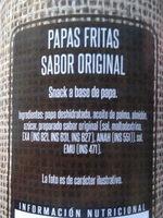 papas fritas de tubo, COTO - Ingredients - es