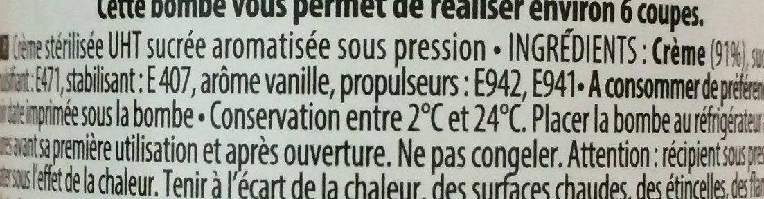 Crème chantilly - Ingredients - fr