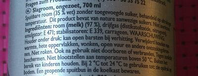 Professional dairy cream - Ingrédients - nl