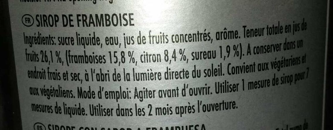 Bar Syrup Raspberry - Ingrediënten
