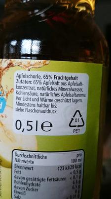 Apfelschorle 65% Fruchtgehalt mit Kohlensäure - Inhaltsstoffe
