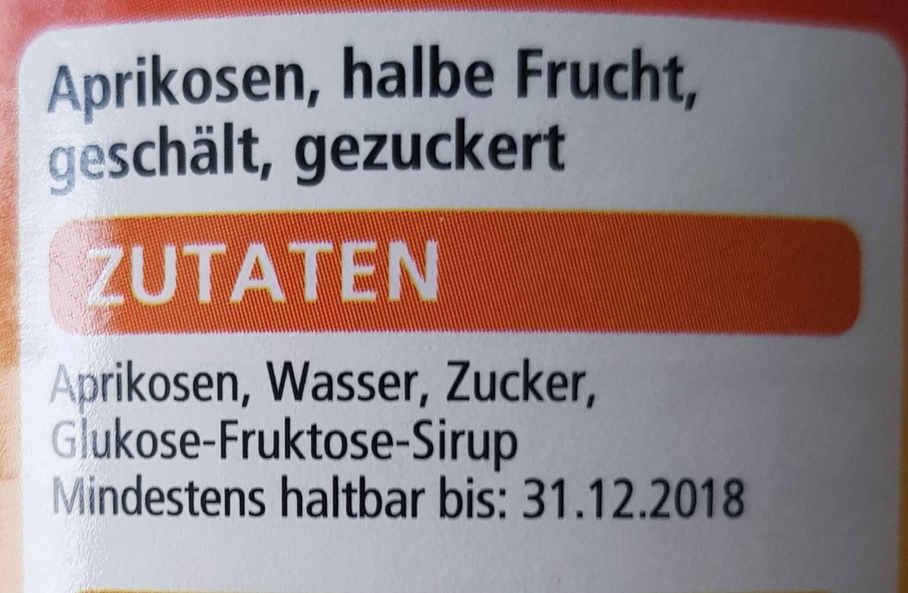 Aprikosen - Ingrédients