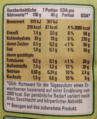 Vollkornbrot Backmischung, geeignet für Backautomaten - Informations nutritionnelles - de