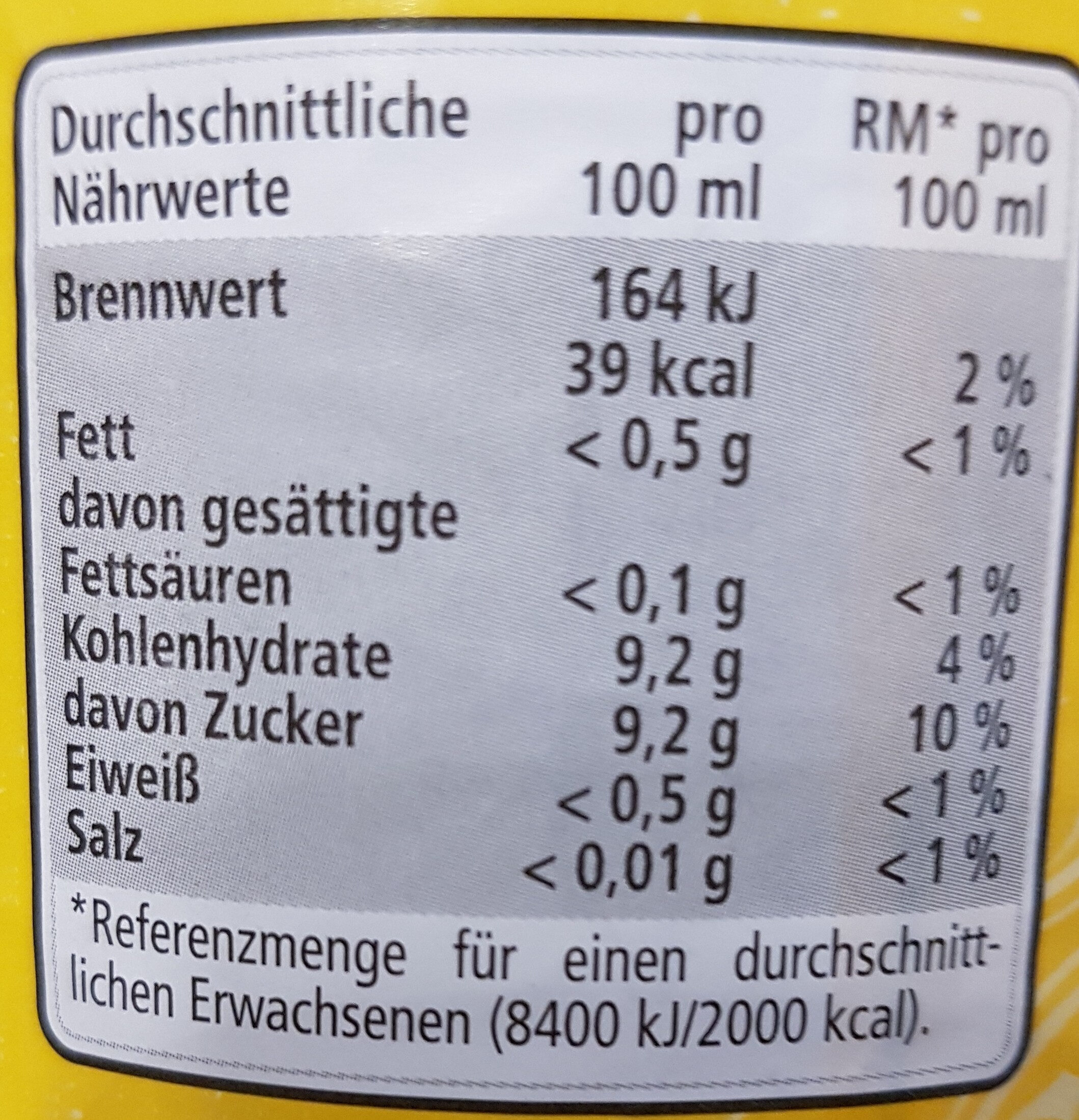 Tonic Water - Nutrition facts - de