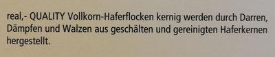 Vollkorn Hafer Flocken - Inhaltsstoffe