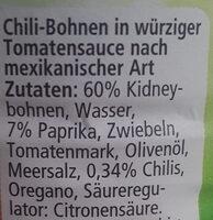 Mexican Chilli Bohnen - Ingredients