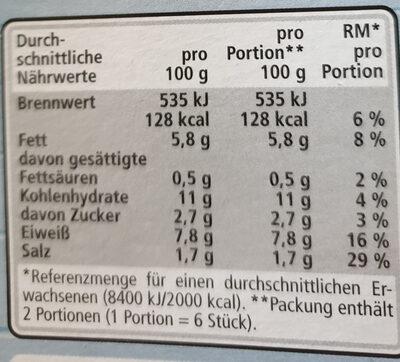 SURIMI-STICKS 12 Stück - Voedingswaarden - de