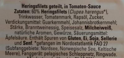 Heringsfilets in Tomaten-Sauce - Inhaltsstoffe