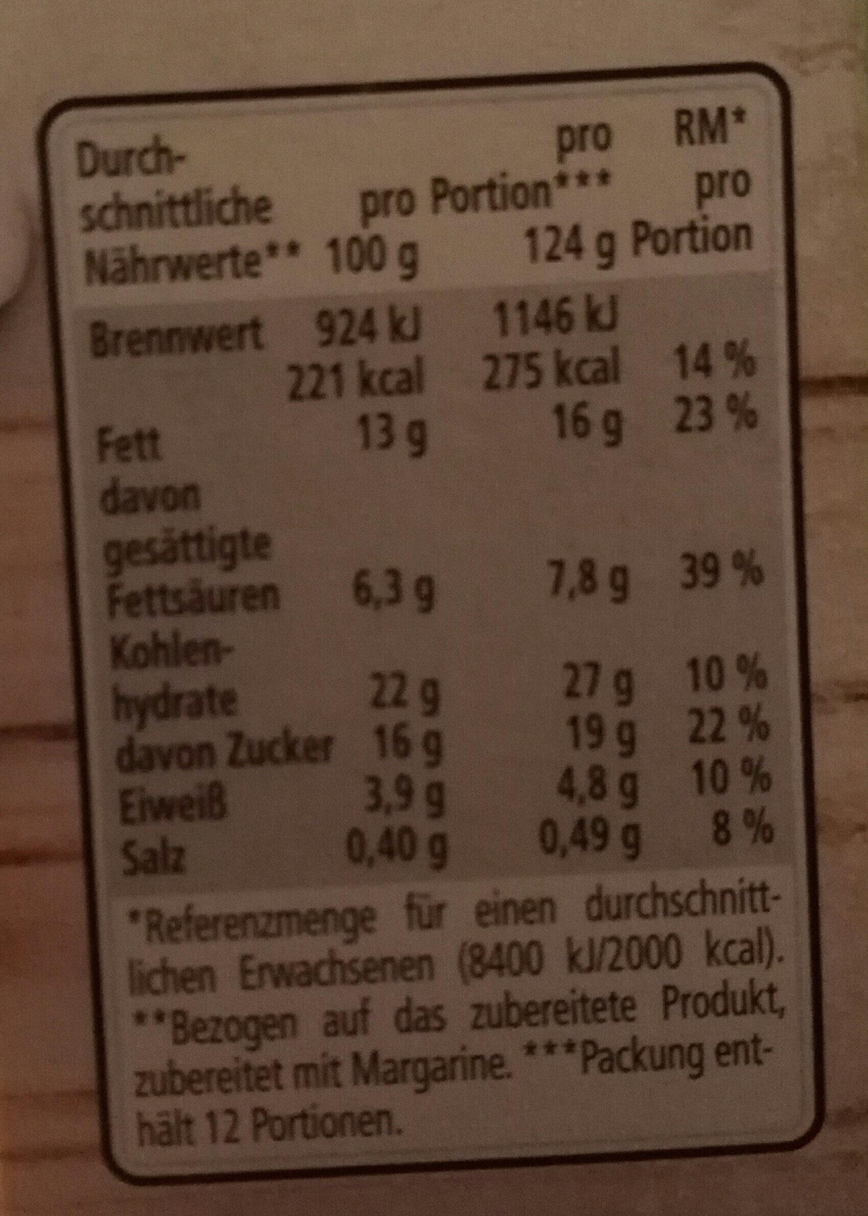 Zitronentorte - Voedingswaarden - de