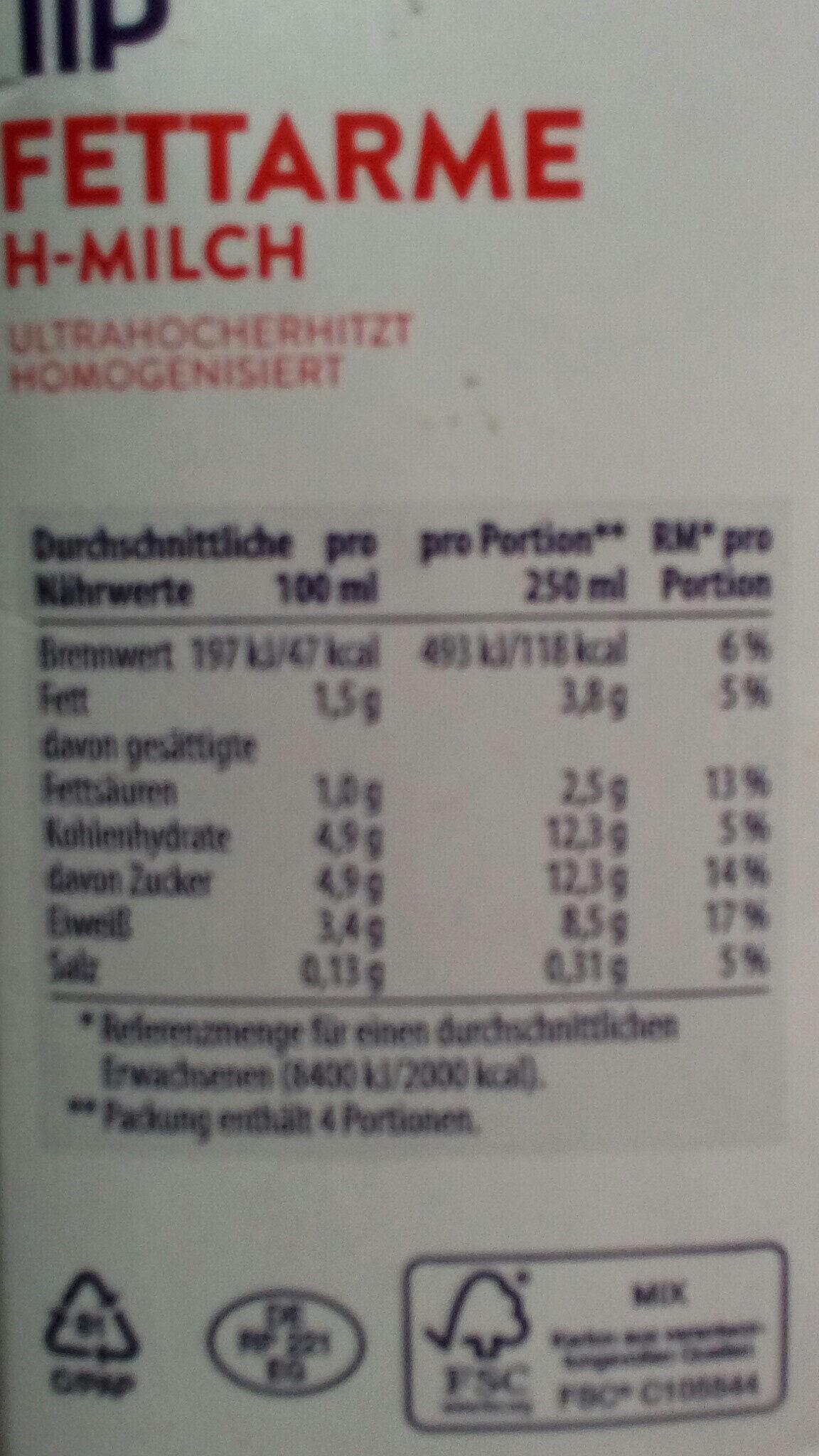 Fettarme H-Milch - Voedingswaarden - de