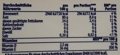 sonnenblumenmargarine - Nutrition facts