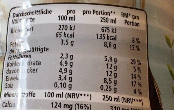 Weidemilch - Nutrition facts - en