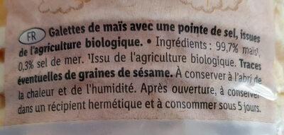 Bio galettes de maïs avec pointe de sel - Ingrédients - fr
