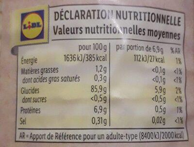 Galette de maïs bio - Voedingswaarden