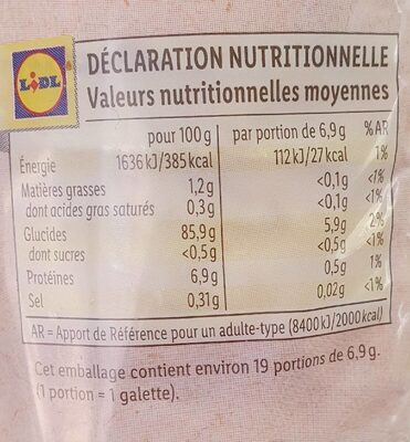 Galettes de maïs - Nutrition facts - en