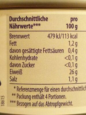 Thunfisch-Filets in eigenem Saft und Aufguss - Nährwertangaben - de