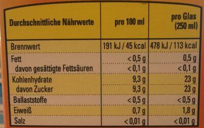 Orangensaft mit Fruchtfleisch Direktsaft - Voedingswaarden - de