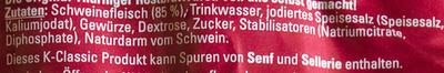 Thüringer Rostbratwurst - Ingredienti - de