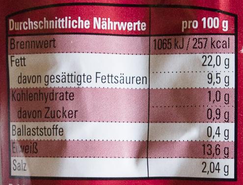 Thüringer Rostbratwurst - Valori nutrizionali - de