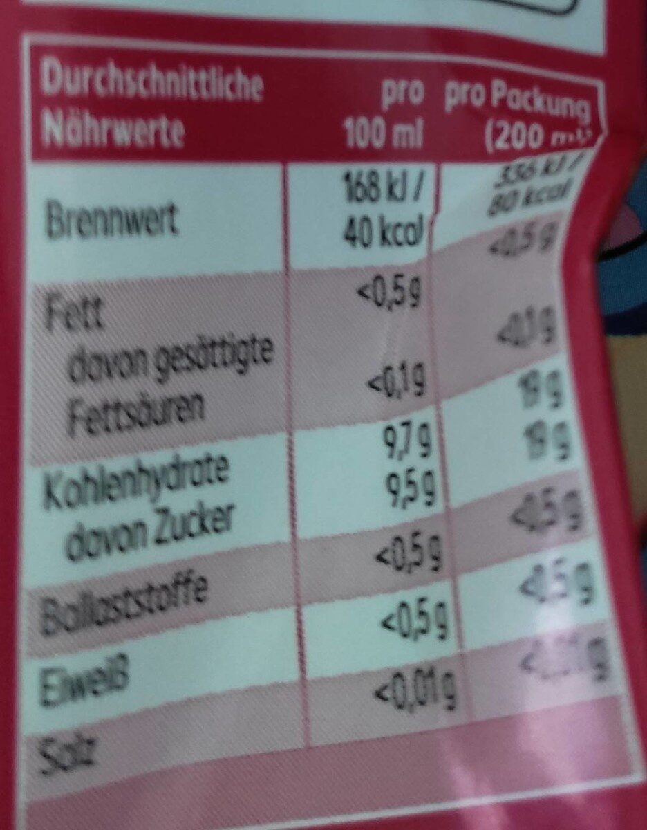 Apfel-kirsch Drink - Valori nutrizionali - de