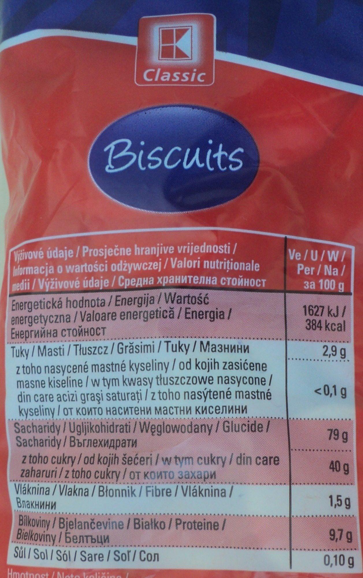 KClassic Biscuiți - Wartości odżywcze