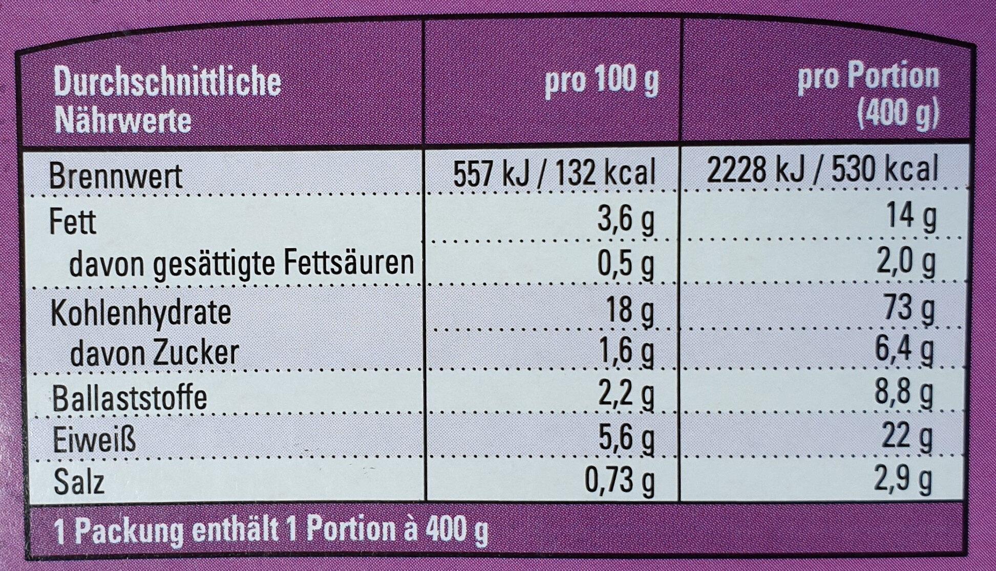 Vegetarisches Chili Sin Carne - Nutrition facts