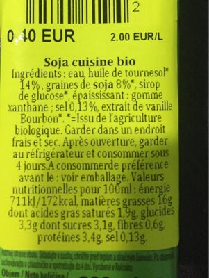 Organic cooking cream - Informations nutritionnelles - fr