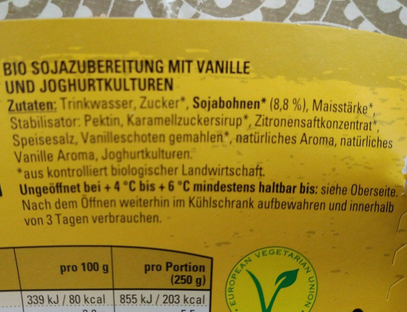 Veganer Bio Sojajoghurt Vanille - Ingrédients - fr