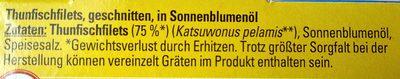 Thunfischfilets in Sonnenblumenöl - Ingredientes