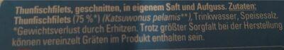 Thunfischfilets, 3X56G Abtropfgewicht - Ingrediënten