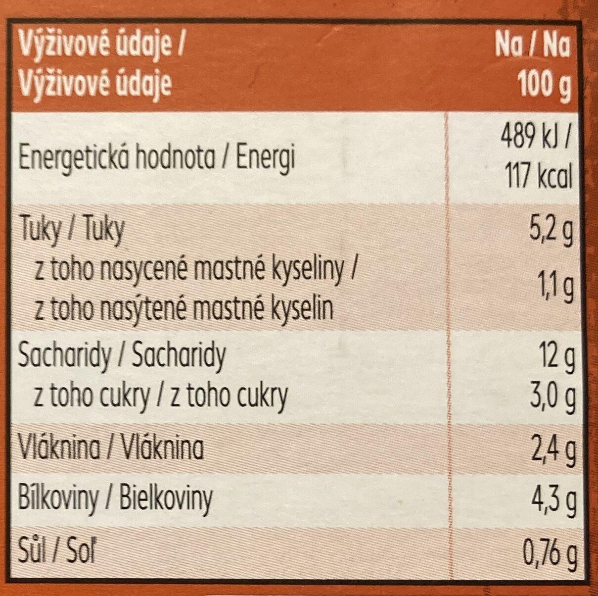 Vegetariánské lasagne - Nutrition facts - cs