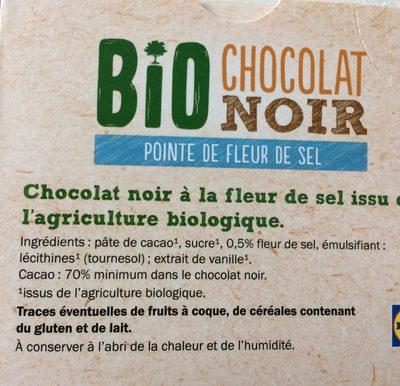 Chocolat noir bio pointe de fleur de sel - Ingrediënten