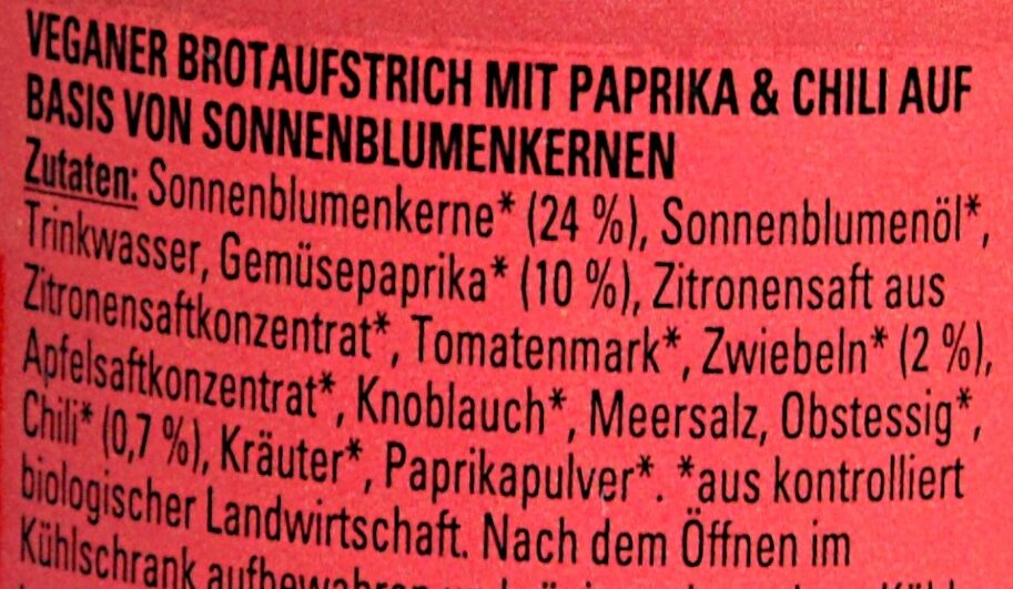 Take It Veggie Hot Paprika - Ingredienti - de