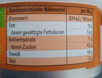 Paprika-Cashew veganer Bio-Aufstrich - Nährwertangaben - de
