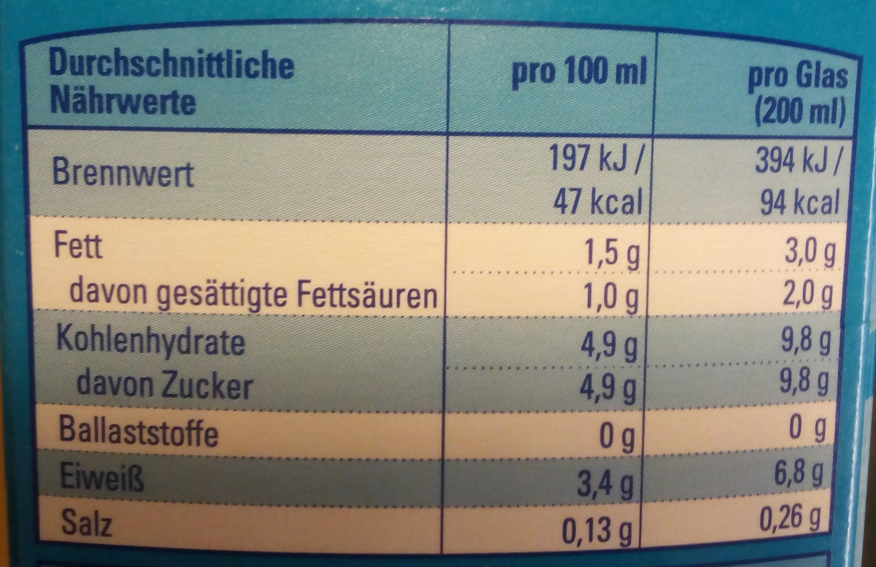 Frische fettarme Milch - Voedingswaarden - de