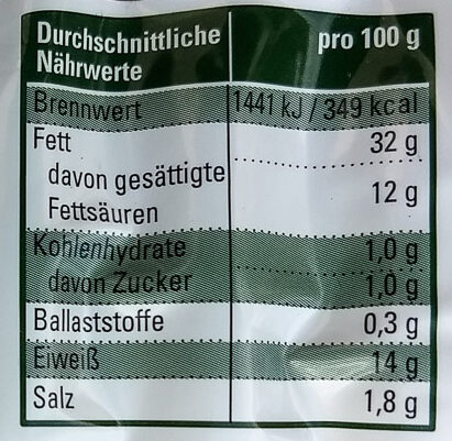 Original Nürnberger Rostbratwürste - Nutrition facts - de