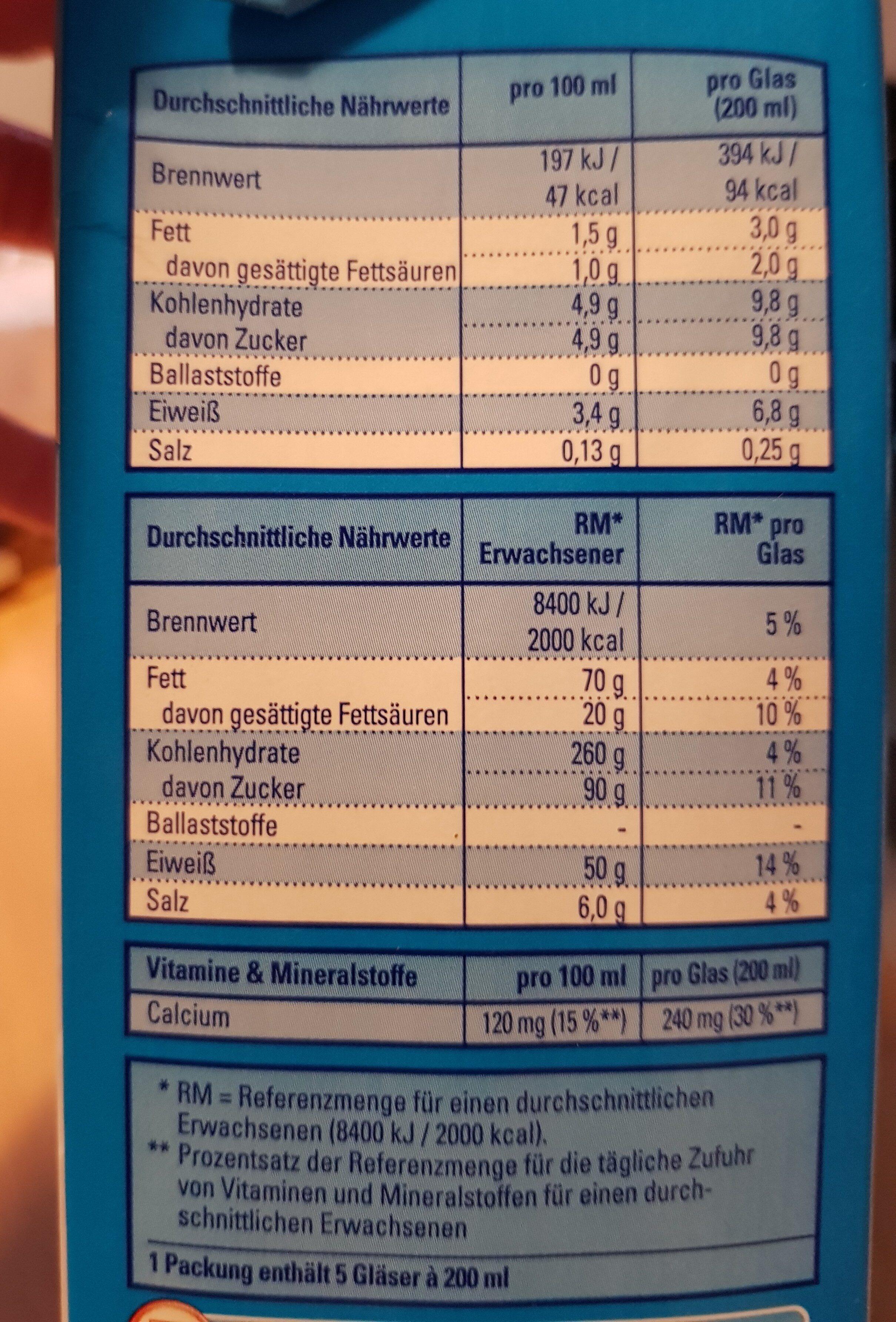 Fettarme H-milch - Ingrédients - de