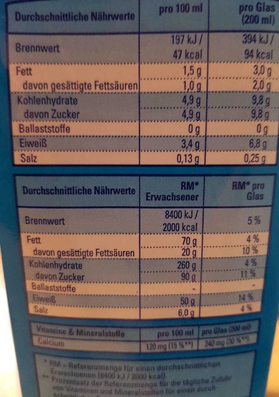 Fettarme H-milch - Informations nutritionnelles - de