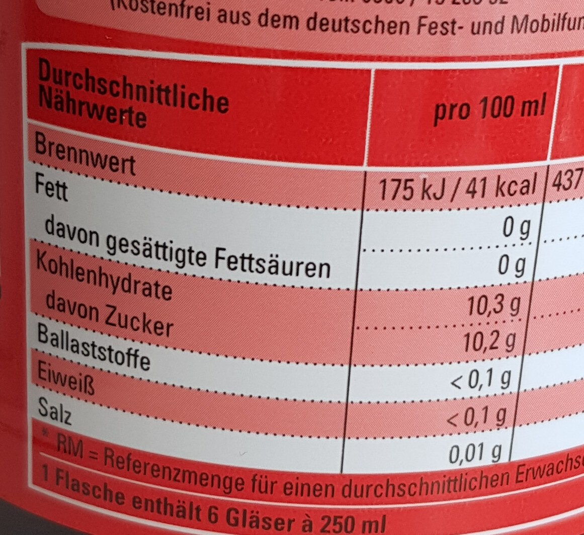 Cola - Nutrition facts - de