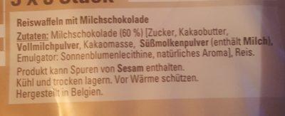 K classic Reiswaffeln Mit Milchschokolade - Ingredients