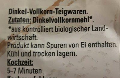 Dinkel-Vollkorn-Fusilli - Ingredients