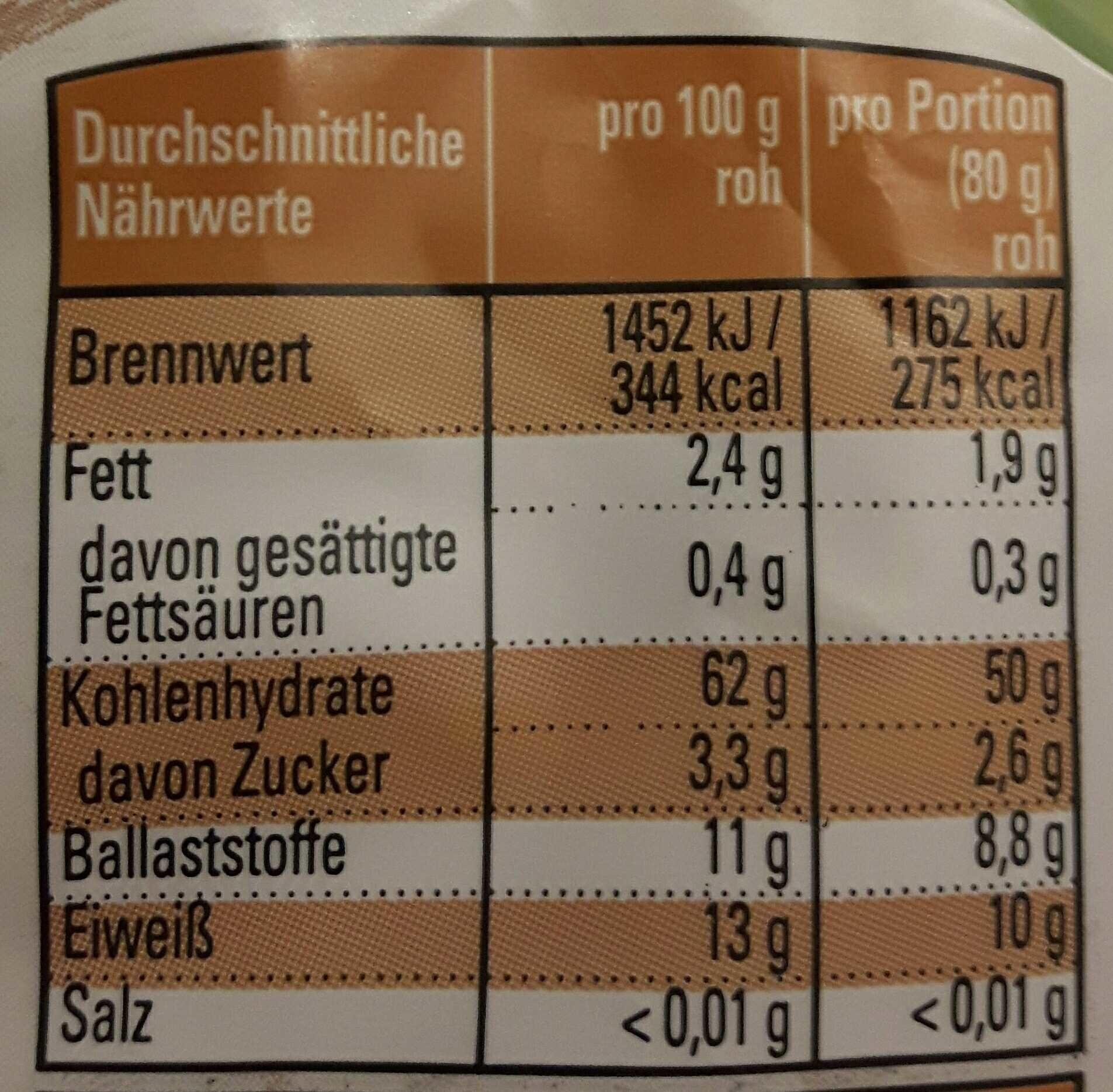 Dinkel-Vollkorn-Fusilli - Nutrition facts